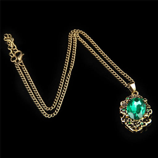 Green Crystal Antique Bronze Color Bridal Necklace Earrings Jewelry Sets - SolaceConnect.com