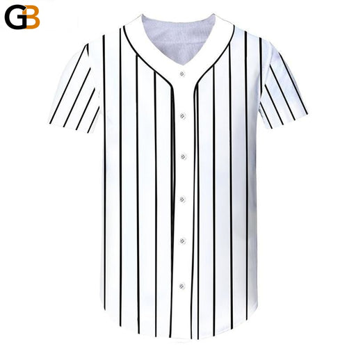 Unisex Casual V-Neck Short-Sleeves Stripe Baseball Jersey with Buttons - SolaceConnect.com