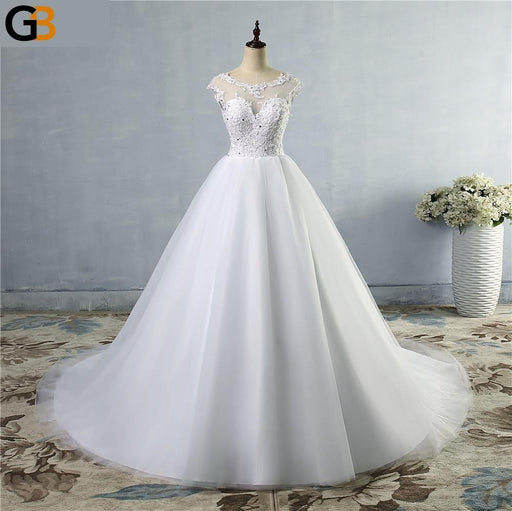 style fashion lace White Ivory Wedding Dresses for brides beads crystal plus size maxi formal - SolaceConnect.com