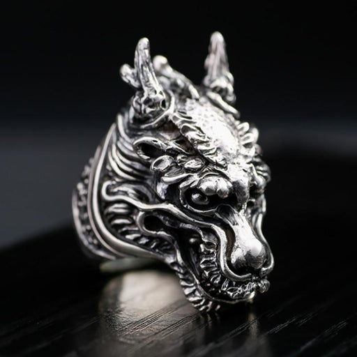Gothic Solid 925 Silver Dragon Vintage Steampunk Biker Big Ring for Men - SolaceConnect.com