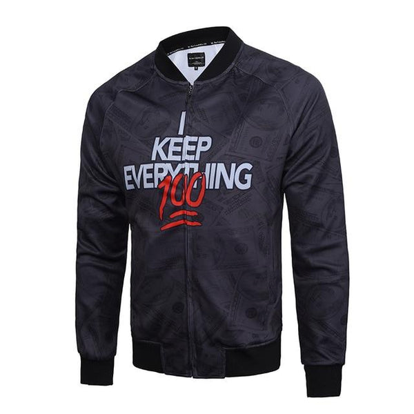 Men's Spring I Keep Everything 100 3D Print Fashion Slim Bomber Jackets - SolaceConnect.com
