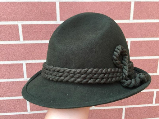 Army Green Wool Bavarian Alpine Fedora Felt Rope Hat for Oktoberfest - SolaceConnect.com