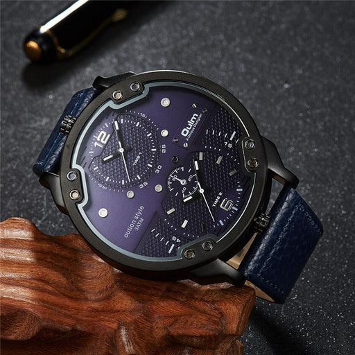Men's Leather Adjustable Multiple Time Zone Sports Quartz Watch - SolaceConnect.com