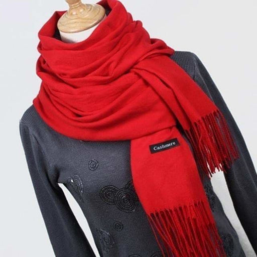 Women's High Quality Thick Warm Winter Cashmere Scarves with Tassel - SolaceConnect.com