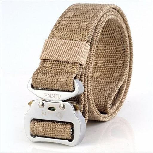 Canvas Nylon Aluminum Insert Buckle Army Tactical Training Belt for Men - SolaceConnect.com