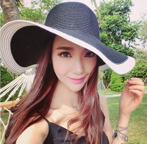 Black and White Striped Bowknot Summer Straw Sun Hat for Women - SolaceConnect.com