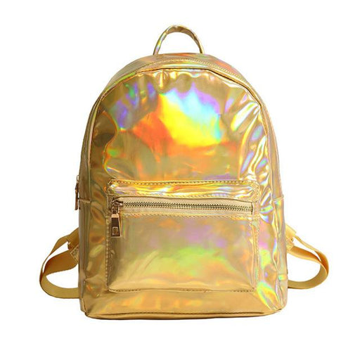 Small Laser Holographic Silver Multicolor Primary School Backpack - SolaceConnect.com