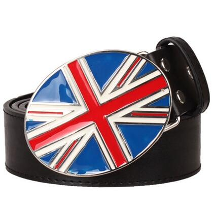 Fashion men women Belt Metal buckle British flag belt for men women UK Decorative Strap women men - SolaceConnect.com