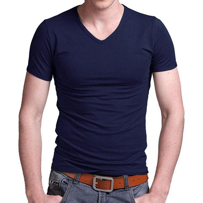 summer Cotton T shirt men's casual short sleeve V-neck T-shirts black' and 'gray' and 'green' and - SolaceConnect.com