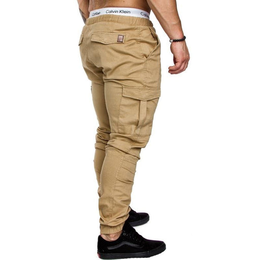 Hip Hop Men's Solid Harem Joggers Pants Trousers with Multi-pockets - SolaceConnect.com
