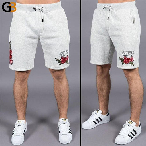Men's Printed Applique Elastic Waist Fitness Bodybuilding Summer Shorts - SolaceConnect.com