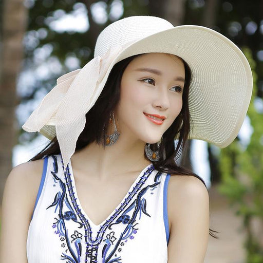 Women's Large Brim Summer UV Protect Paper Straw Floppy Beach Sun Hats - SolaceConnect.com