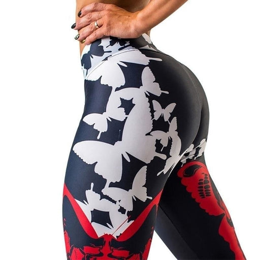 Women's Butterfly Printed High Waist Push Up Sporting and Fitness Leggings - SolaceConnect.com