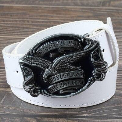Cool belt men's women's American flag emblem eagle gun belt US style men women leather belt eagle - SolaceConnect.com