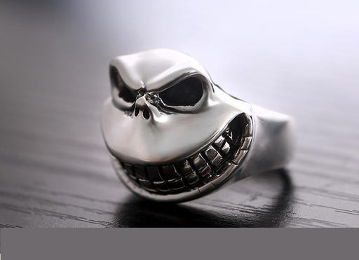 Real Solid 925 Sterling Silver Gothic Skull Laugh Punk Biker Men's Ring - SolaceConnect.com
