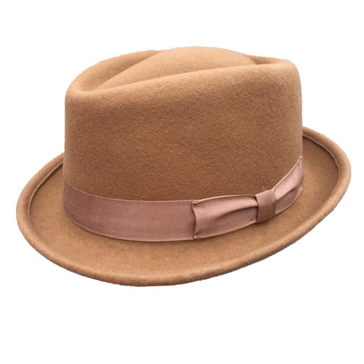 Classic Wool Felt Brown Pork Pie Jazz Trilby Stingy Brim Fedora Cap - SolaceConnect.com