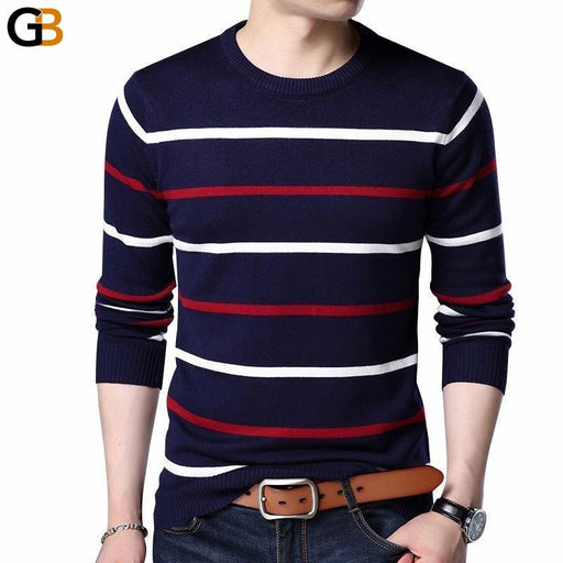 Men's Autumn Winter O-Neck Pullover Cashmere Wool Full Sleeve Sweater - SolaceConnect.com