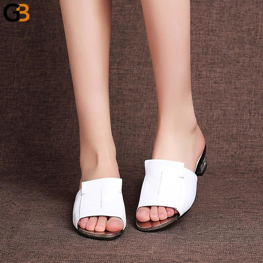 Women's High-Quality Leather High Heeled Summer Sandals Gladiator Style - SolaceConnect.com