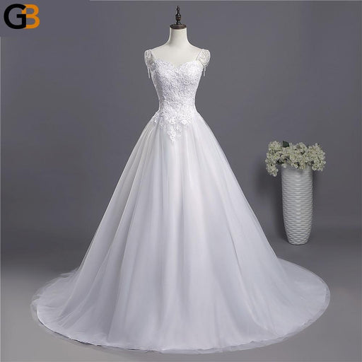 lace Spaghetti Straps White Ivory Fashion Sexy Wedding Dresses for brides plus size maxi size - SolaceConnect.com