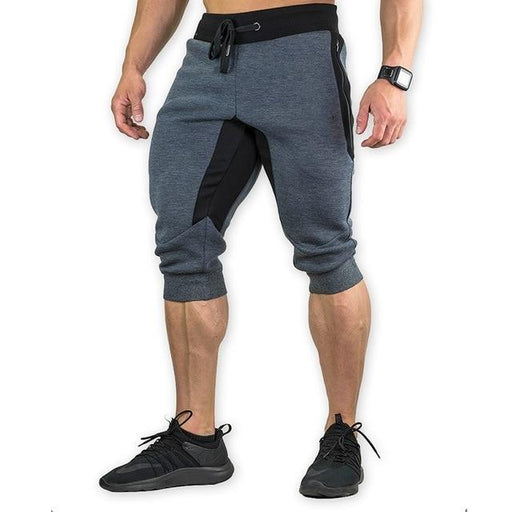 Men's Slim Fit Bodybuilding Elastic Waist Knee Length Patchwork Shorts - SolaceConnect.com