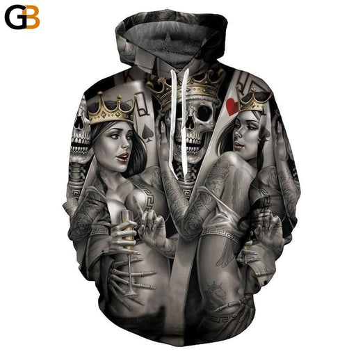 EU Size M-3XL Fashion Men 3d Hoodies Print Metal Skulls Bride Groom Hooded Hoodies Thin - SolaceConnect.com