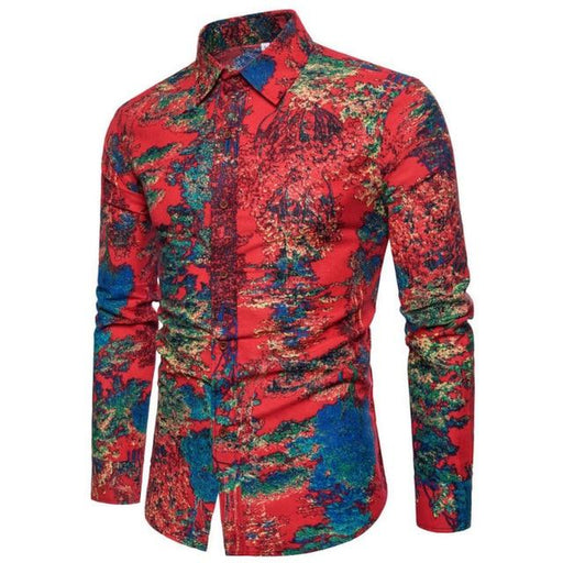 Long-Sleeve Flower Print Slim Fit Linen Men's Shirt for Spring Autumn - SolaceConnect.com