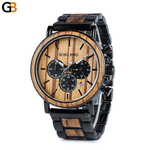 Luxury Military Style Wooden Chronograph Quartz Watches for Men - SolaceConnect.com