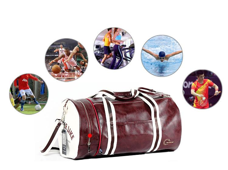 ... PU Outdoor Sports Gym Bag Multifunction Training Fitness Shoulder Bag  With Shoes Pocket Mixed Colors ... 0542cbef80