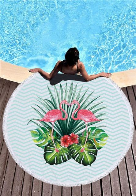 XC USHIO Round Beach Towel With Tassels for Summer 450g Microfiber 150cm Wall Tapestry Swimming Bath - SolaceConnect.com