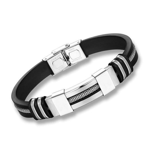 Punk Style Men's Stainless Steel Silicone Wrist Band Design Bracelet - SolaceConnect.com