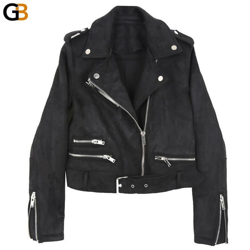 Women Spring Pu Leather Jacket Bright Colors Vintage Short Motorcycle Coat Fashion Black Soft - SolaceConnect.com