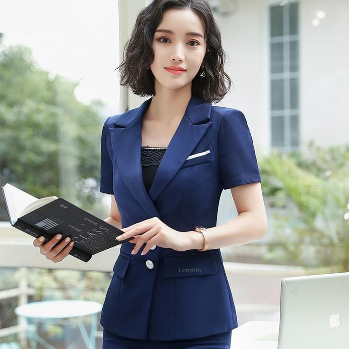 Women's Summer Fashion V-neck Formal Uniform Style Pantsuit 2 Pieces Set - SolaceConnect.com