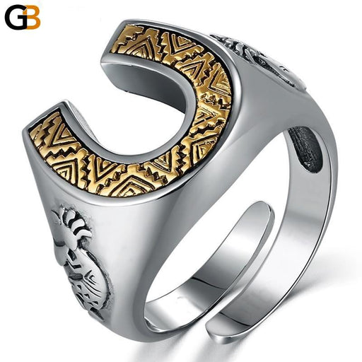 ZABRA Solid 925 Sterling Silver Horseshoe Indians 14mm Wide Steampunk Opening Rings For Men Women - SolaceConnect.com