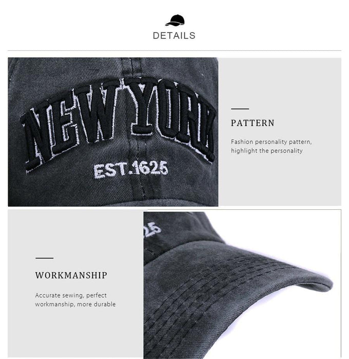 [HATLANDER]Sand washed 100% cotton baseball cap hat for women men vintage dad hat NEW YORK - SolaceConnect.com