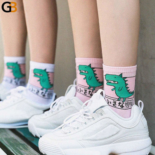 Unisex Japanese Harajuku Funny Casual Dinosaur Cat Cotton Socks - SolaceConnect.com