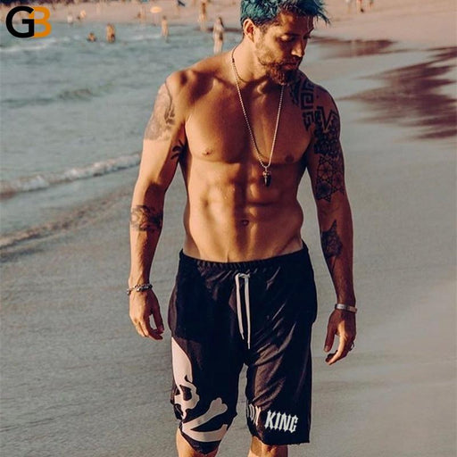 Men's Cotton Gym Fitness Bodybuilding Skull Print Casual Drawstring Shorts - SolaceConnect.com
