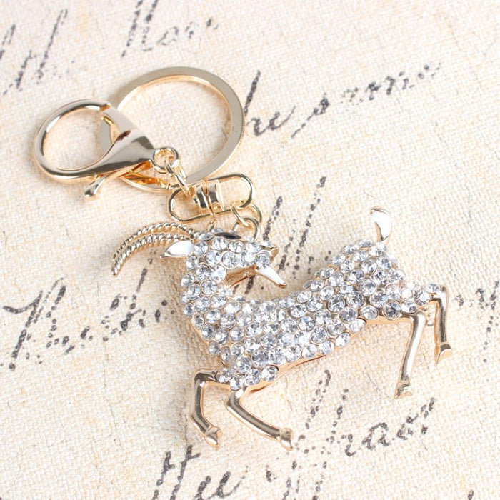 Running Sheep Goat White Crystal Rhinestone Charm Purse Key Ring Chain - SolaceConnect.com