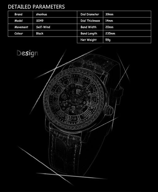 Skeleton Watches Womens Automatic Ladies Sports Clock Luxury Role Mechanical Wristwatch Diamond - SolaceConnect.com