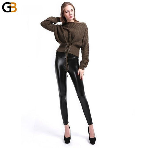 Women's S-5XL Size Faux Leather High Waist Ankle-Length Leggings - SolaceConnect.com