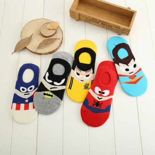 A Set of 5 Pairs Cute Harajuku Printed Low Ankle Summer Socks for Women - SolaceConnect.com