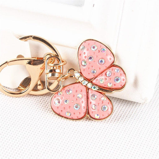 Lovely Pink Butterfly Charm Cute Crystal Pendant Purse HandBag Key Ring Chain Favorite - SolaceConnect.com