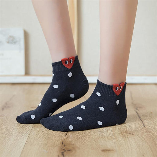 Simple Basic Fresh Cute Red Heart Pattern Socks for Women with 3D Ears - SolaceConnect.com