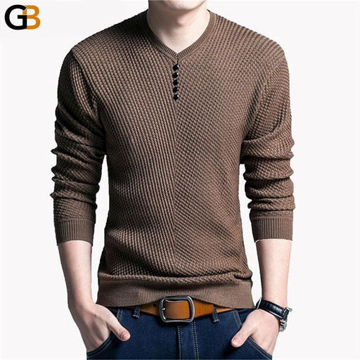 Men's V-Neck Casual Pullover Long Sleeve Slim Fit Autumn Sweater - SolaceConnect.com