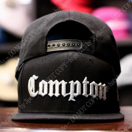 Fashion Unisex Black Compton Letters Embroidery Snapback Baseball Cap - SolaceConnect.com