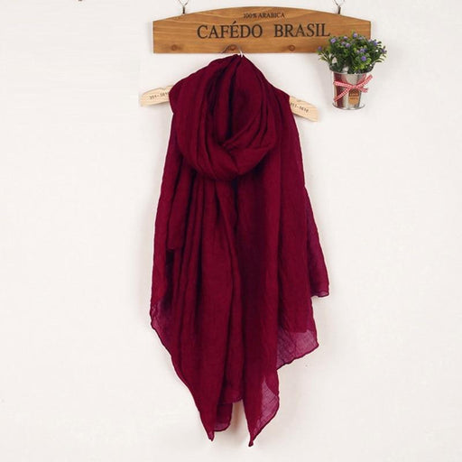 Winter Autumn Soft Light Wine Red Scarves for Women in Linen Cotton - SolaceConnect.com