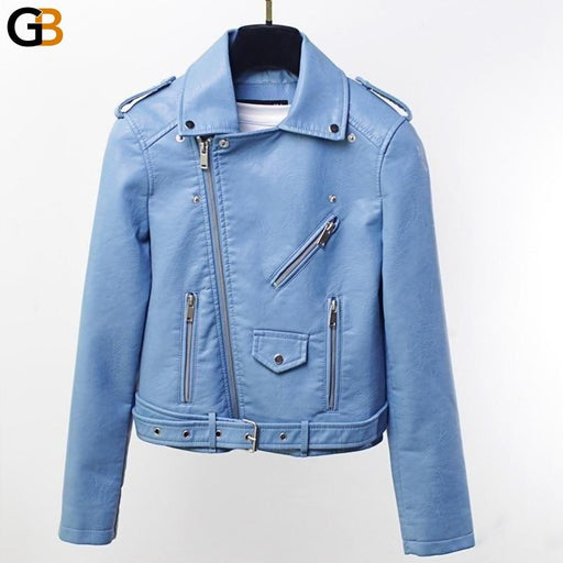 Bright Color Women's Spring Biker Jacket Short Synthetic Leather Vintage Coat - SolaceConnect.com
