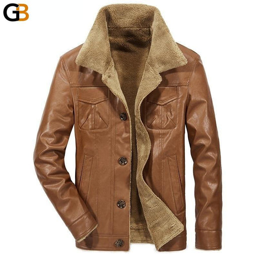 Men's Thermal Fur Outerwear Synthetic Leather Coat Winter Jacket - SolaceConnect.com