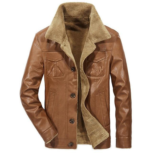 Mountainskin Men's Leather Jacket PU Coats Mens Brand Clothing Thermal Outerwear Winter Fur - SolaceConnect.com