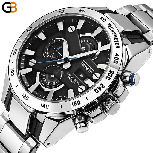 Men Business Watch Waterproof Luxury Fashion Quartz Watches Men's Chronograph Date Military Male - SolaceConnect.com