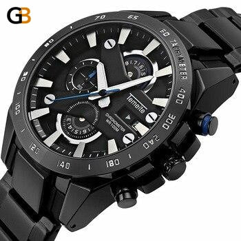 Luxury Fashion Business Men's Waterproof Quartz Watches with Chronograph - SolaceConnect.com